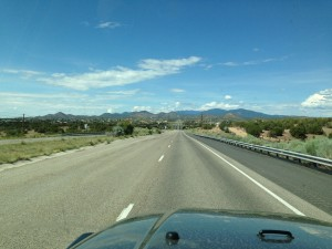 Leaving Santa Fe, the mountains start to grow on the horizon.
