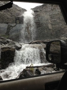 First time driving through a waterfall.