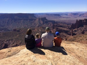 The family enjoys the view.
